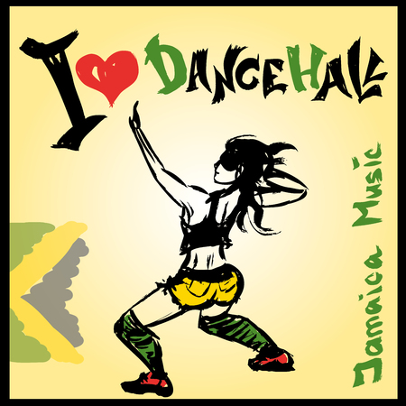 Dancer dancehall style, hand drawing, vector illustration
