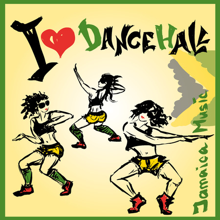 revelry: Set Dancer dancehall style, hand drawing, vector illustration