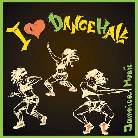 sexy teenage girl: Dancer dancehall style, hand drawing, vector illustration