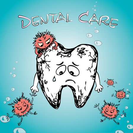 cartoon sick tooth with bacteria, hand drawn vector