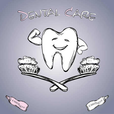 to care: Dental care, hand drawn vector.