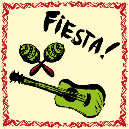 Mexican Fiesta Party Invitation with maracas and guitar. Hand drawn vector illustration poster