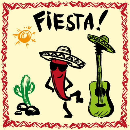 fiesta: Mexican Fiesta Party Invitation with maracas, sombrero, dancing red pepper and guitar. Hand drawn vector illustration poster