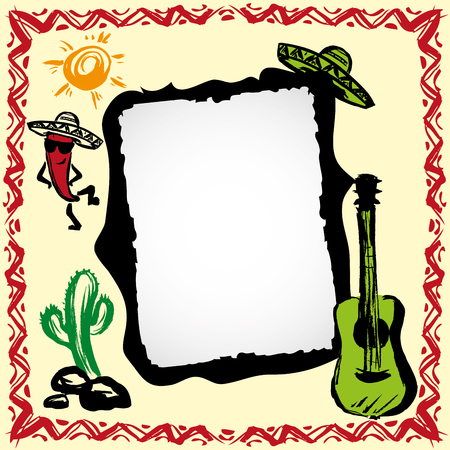 mexicans: mexican fiesta frame with sombreros, cactus, chilis and guitar, hand drawn vector