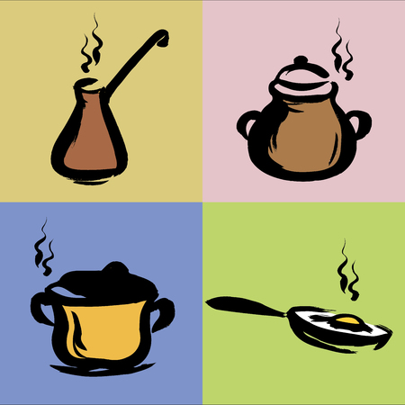 gravy: Hand drawn illustration of kitchen utensils, vector Illustration