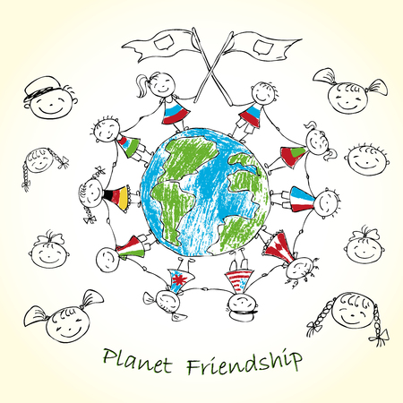 masai: multicultural children on planet earth, vector illustration