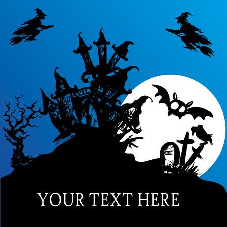harvest moon: Halloween haunted house, vector background