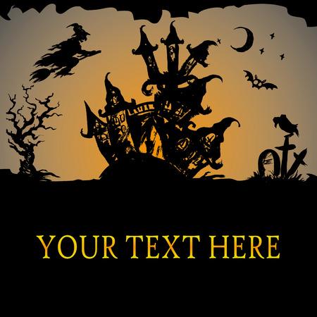silhouette maison: Halloween maison hantée, vecteur fond Illustration