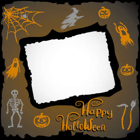 themed: Halloween Themed Frame , hand drawn vector illustration