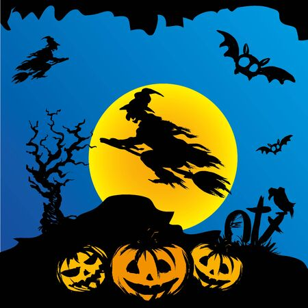 halloween scary: Halloween witch flying on broomstick, scary Halloween background. Hand drawn vector.
