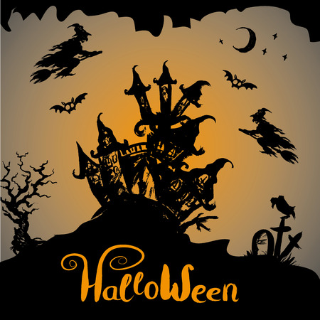 haunted tree: Halloween night background with haunted house, hand drawn vector Illustration