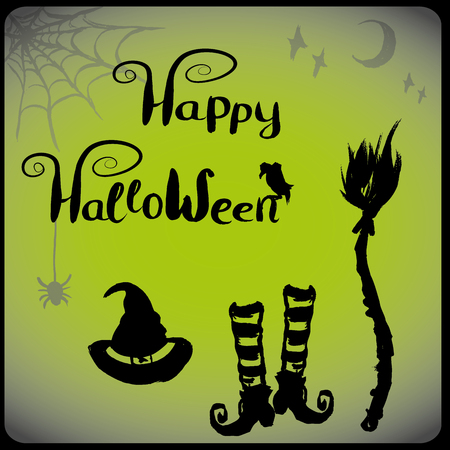 witch: accessories for witches, halloween background,vector hand drawn