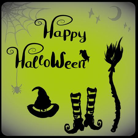 czarownica: akcesoria dla czarownic, Halloween tle, ręcznie rysowane wektor Ilustracja