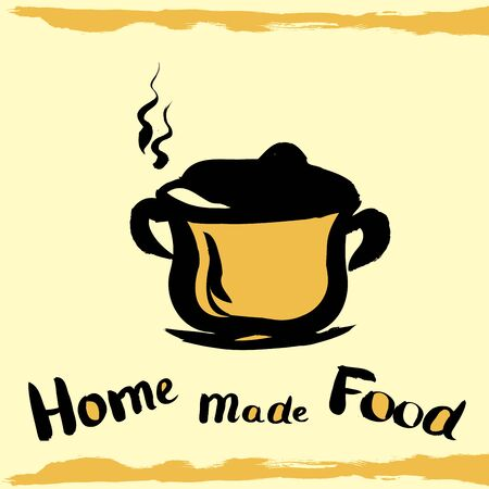 banner ads: kitchen pot , with the inscription home made food, hand drawing design elements for your banner, ads or web.
