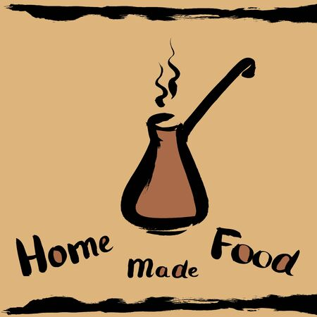 turk: Turk to brew coffee for brewing coffee, with the inscription homemade production, hand drawing design elements for your banner, ads or web.