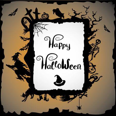 witch: Fondo de Halloween con la bruja, cementerio, calabaza y lugar para el texto