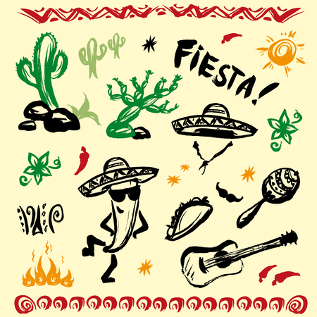 Hand drawn set of mexican symbols - guitar, sombrero, taco, skull,  music instruments. Vector.