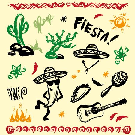 Mano conjunto elaborado de símbolos mexicanos - guitarra, instrumentos sombrero, tacos, cráneo, música. Vector.