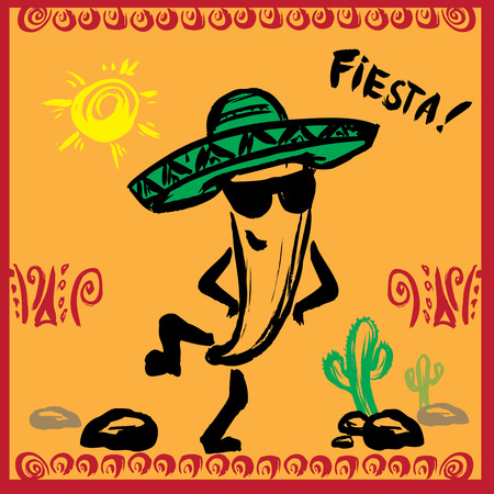 spanish tradition: Mexican Fiesta Party Invitation with  dancing pepper . Hand drawn vector illustration poster