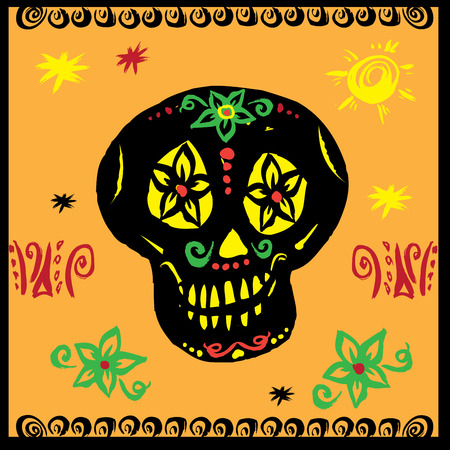 hand drawn vector, mexican skull , day of the dead