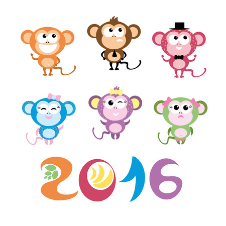 Symbol of 2016. Cute smiling Monkey . Vector decor for New Year's design in flat style. Illustration