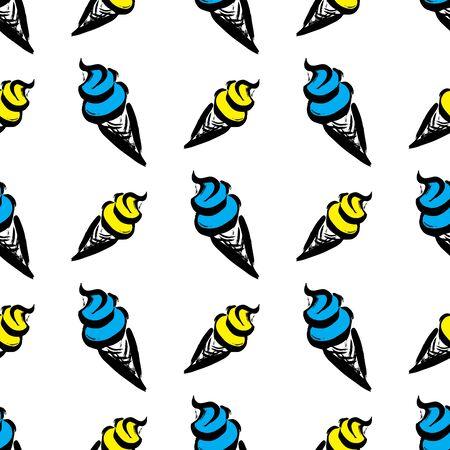 Ice cream seamless pattern background. Vector illustration Ilustração