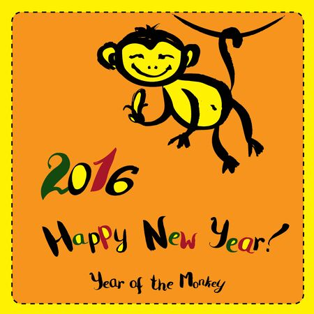china watercolor paint: New Year Greeting Card with Hand Drawn Monkey.Symbol of 2016 New Year. Vector illustration. Illustration