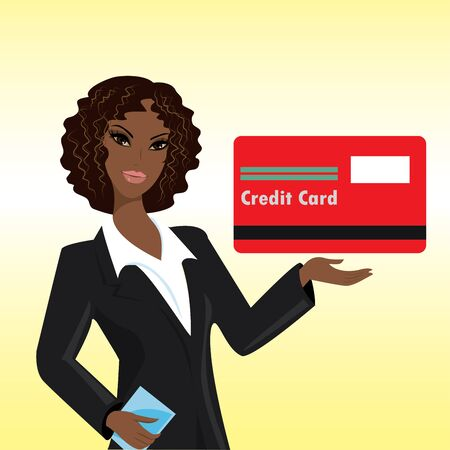 woman credit card: Black woman with credit card,vector illustration