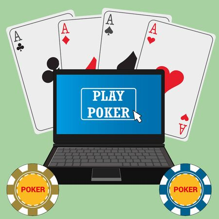 Laptop with the poker application on the screen, chips and cards around, vector