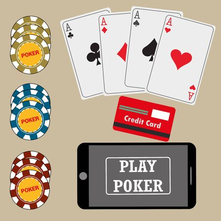 smart card: Online poker app on tablet touch screen, smart phone, cards, credit card and chips , vector Illustration