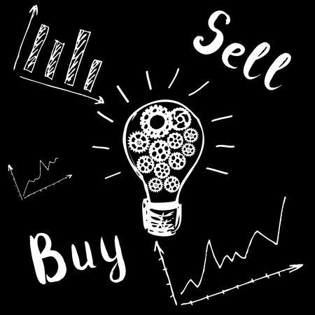 technical analysis: light bulb with gears, graphic, buy and sell; forex vector; handdrawn stock market vector; stock market vector; unknown direction; technical analysis. Hand drawn.