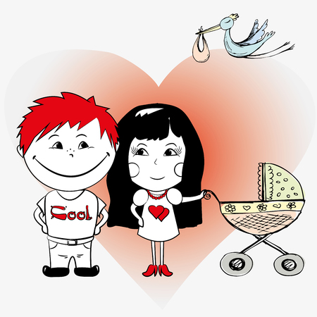 baby stroller: couple in love with a baby stroller and a stork carrying a baby Illustration