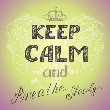 despacio: mantener la calma y respirar lentamente cartel, dibujo vectorial mano Vectores
