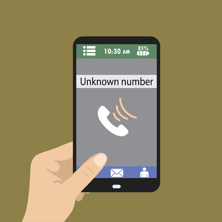Hand holding smart phone, unknown number on screen, vector