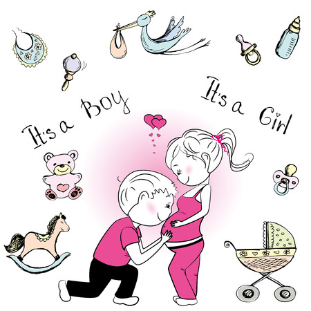 baby stroller: A loving couple expecting a baby, pregnancy, baby stroller, stork and baby accessories