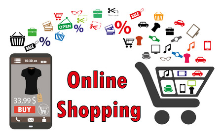 commerce: Shopping with smartphone. . Electronic commerce. vector illustration Illustration