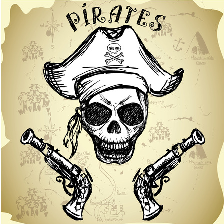 antique pistols: pirate skull with hat and pistols, hand drawing, vector