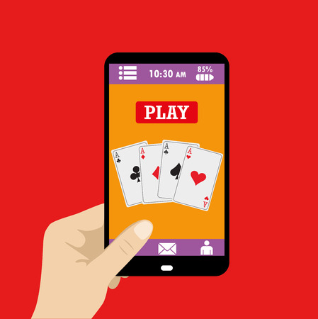 ace of spades: Smart phone Gambling - Poker Aces Illustration of four poker aces on smart phone device, for poker, bridge or casino advertisement.