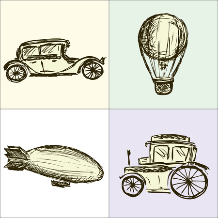 aeronautic: Steampunk Gears, machine, airship, balloon, hand drawing, vector