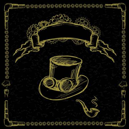 steampunk: Steampunk gear, pipe, hat on a black background with a ribbon for inscription, hand drawing Illustration