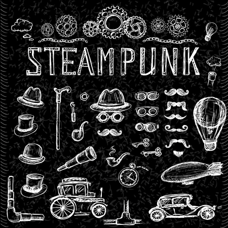 steampunk: Set Steampunk collection on black, hand drawn vector illustration.