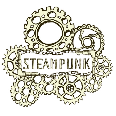 copper pipe: Steampunk style background, vector