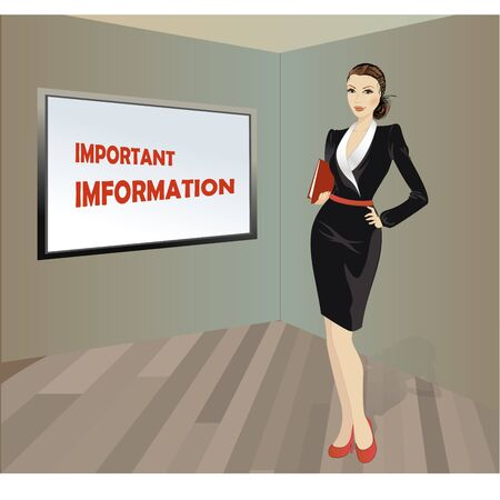 case binder: Business woman with a folder in his hands, a place for an inscription, vector illustration