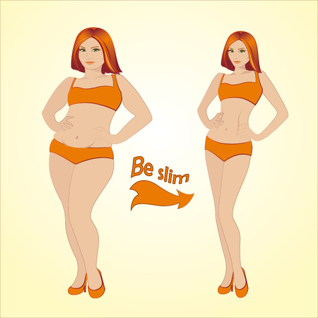 big breast: Fat and slim woman, vector illustration
