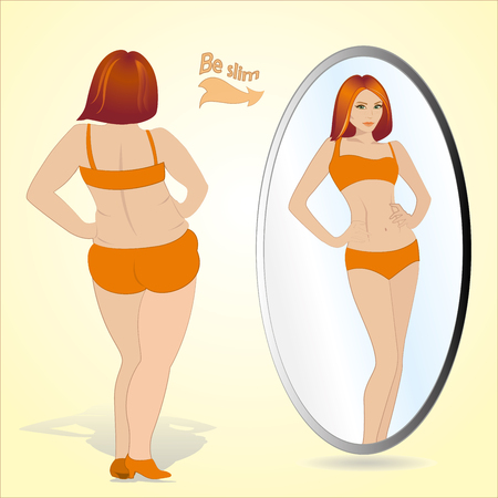 Fat woman looking in mirror and seeing herself as slim and younger, vector Иллюстрация
