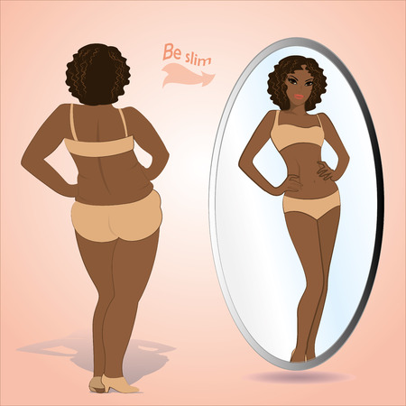 on mirrors: Fat woman looking in mirror and seeing herself as slim and younger, vector Illustration