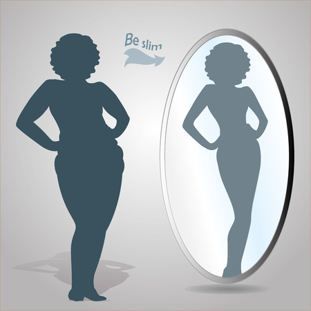 sunglasses reflection: Silhouette of a fat woman looks in the mirror and seeing herself as slim a, vector