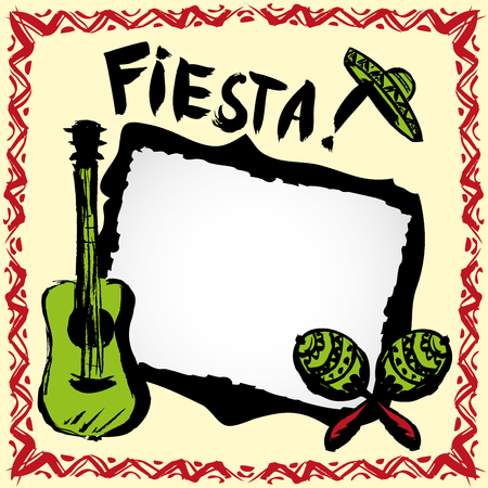 mexican fiesta frame with sombrero's,maracas and guitar, hand drawn vector Illustration