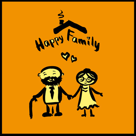 old couple: hand drawing cartoon character happy family,old couple, vector Illustration