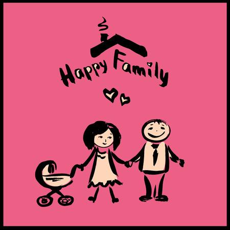 happy family: hand drawing cartoon character happy family, vector